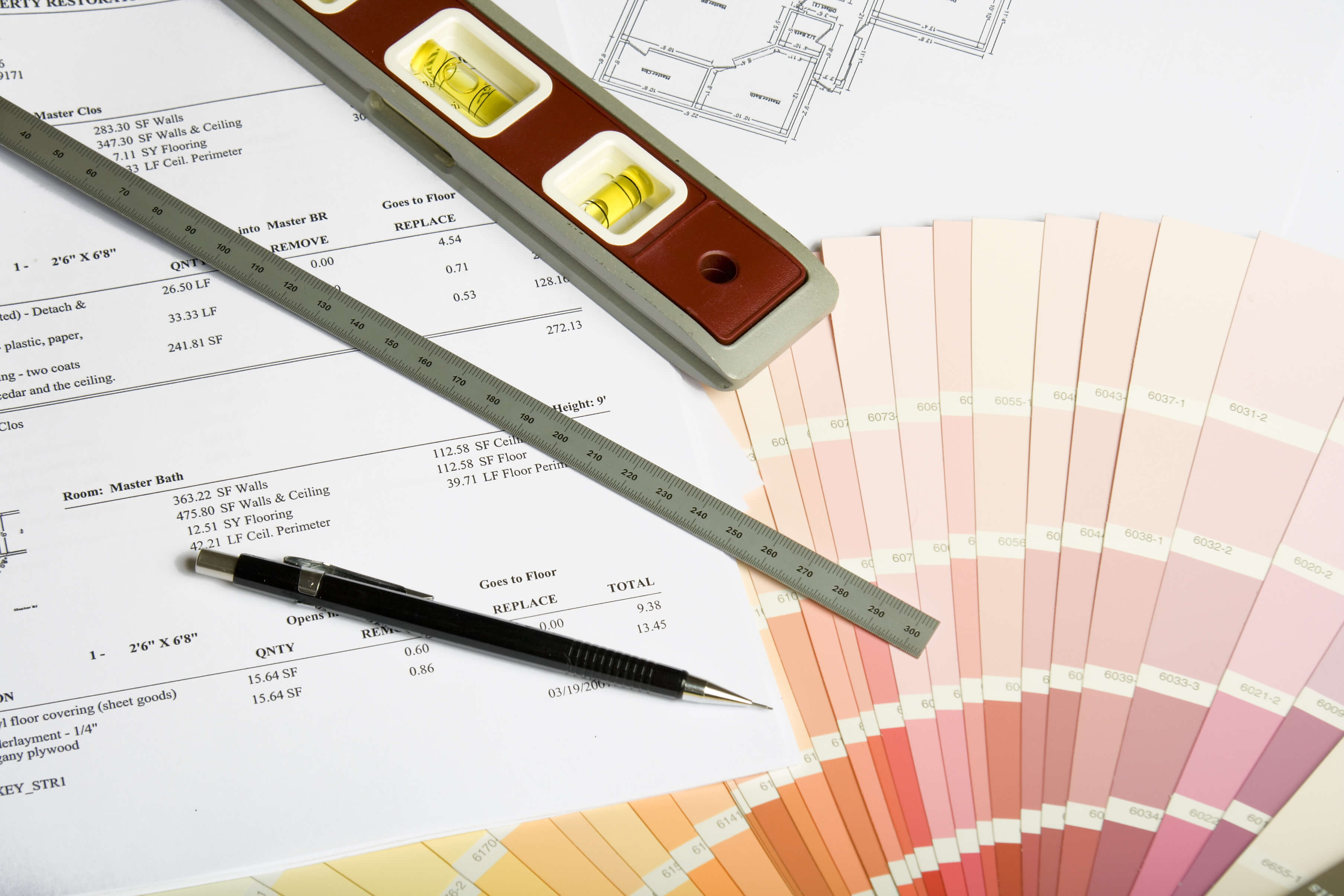 scale estimate and color samples for construction