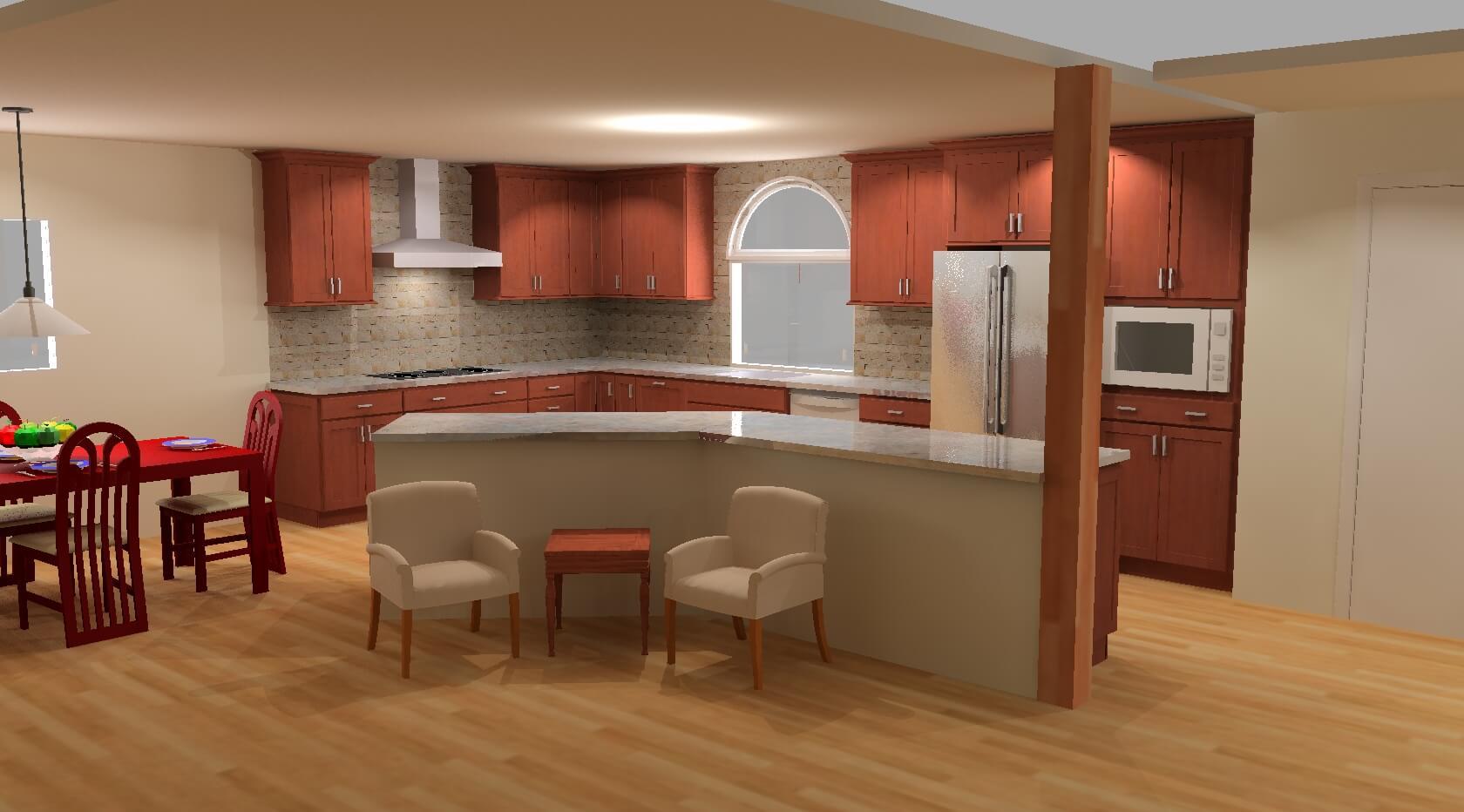 3d model of a warm open concept kitchen