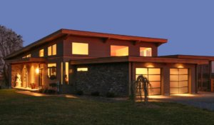 two story home at dusk