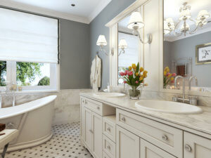 white cabinet classic bathroom addition