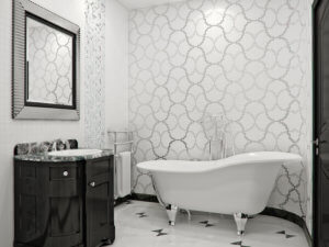 classic white bathroom with mosaic tile